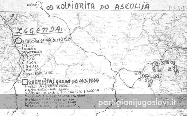 L'itinerario da Colfiorito al comprensorio di Acquasanta Terme, ricostruito in dettaglio da Drago (Ivanović 1999, p.409)