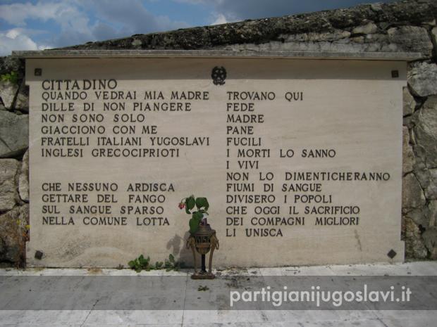 Lapide al Cimitero internazionale partigiano di Pozza-Umito (AP)